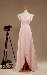 Chiffon V-neck Poet-sleeve Front-split Bridesmaid Dress With back bow