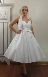 Taffeta Satin Bow Sash Sleeveless Tea-Length Gown