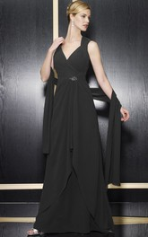 Sleeveless Keyhole Back Formal Broach Floor-Length A-Line Chiffon Gown