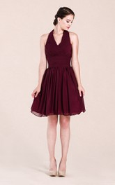 Haltered short A-line Chiffon Bridesmaid Dress With Zipper