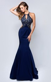 Mermaid Sleeveless prom Dress With sweep train And Beaded top
