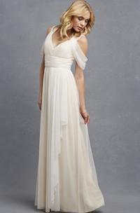 Tulle V-Neckline A-Line Romantic Sleeveless Gown