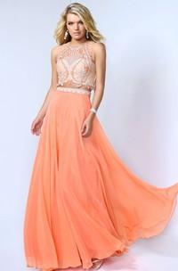 A-Line Beaded Floor-Length Jewel-Neck Chiffon Sleeveless Dress