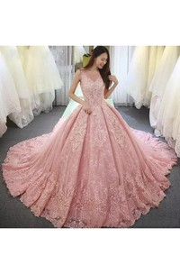 Romantic V-neck 3 4 Length Sleeve Lace Tulle Ball Gown Wedding Dress