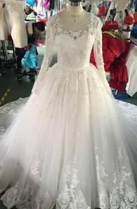 Organza Lace Appliqued Long-Sleeve Scoop-Neckline Dress