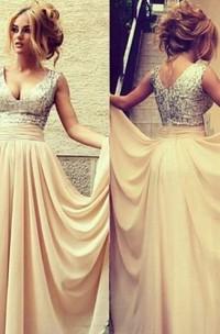 V-neck A-line Sleeveless Floor-length Beading Chiffon Dresses