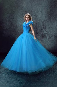 Full-Length Organza Lace Sweetheart Bell Corset Ruffled Tulle Ball Gown