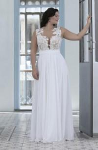 Jewel Chiffon Lace  Sleeveless Wedding Gown