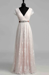 V-neck Short Sleeve Empire Beading Sash Ribbon Wedding Dress