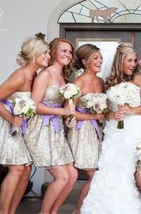 Glamorous Sleeveless Short Bridesmaid Dress 2018 Sweetheart Bowknot Sequins