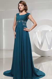 Bateau-Neckline Jeweled Waist Chiffon Sleeveless Dress