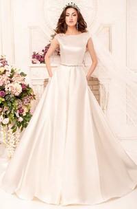 Cap-Sleeve Waist Jewellery Floor-Length A-Line Satin Dress