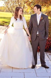 Jewel Lace Tulle Illusion Half Sleeve Wedding Dress