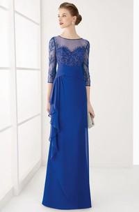 Jewel-Neck 3-4-sleeve Illusion Jersey Dress With Beading