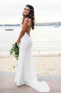 Spaghetti Lace  Sleeveless Wedding Dress