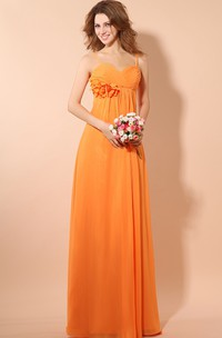 Empire Soft Flowing Fabric Pleated Dress With Ruching And Flower