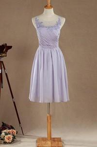 A-line Mini Tea-length Chiffon&Lace&Satin Dress