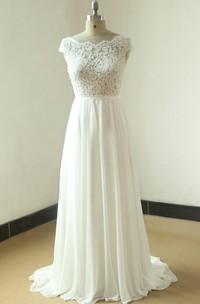 Sheer Scallop-Back A-Line Ivory Wedding Dress