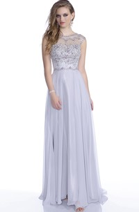 Jewel Neckline Floor-length Beaded occasion Dress With Illusion back