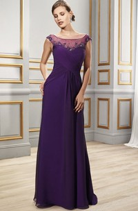 Criss-Cross Formal Cap-Sleeve Scoop-Neckline Chiffon Gown