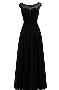 Chiffon Illusion Neck A-Line Cap-Sleeved Dress