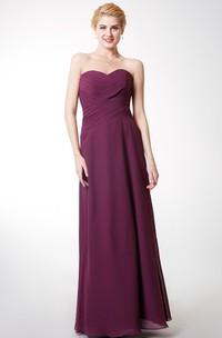 Criss Cross Ruched Floor-Length Sweetheart Bridesmaid Dress