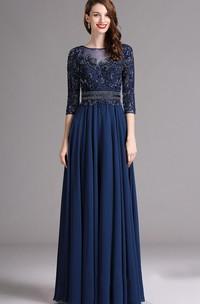 Chiffon Illusion Bateau-Neck A-Line Appliqued Gown