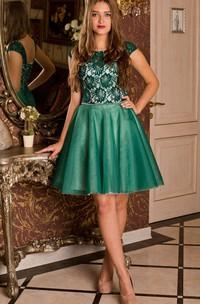 A-Line Short Bateau Short Sleeve Tulle Lace Lace-Up Dress