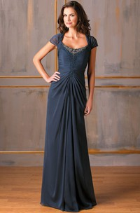 Jewels Ruches Bateau-Neckline Cap-Sleeved Mother Of The Bride