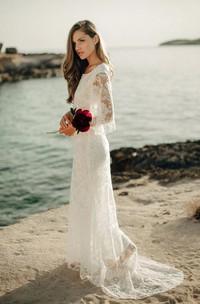 Ethereal Sheath Bat Sleeve Floor Length Wedding Dress with Low-V Back