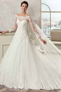 Off-the-shoulder Illusion Long Sleeve Ball Gown With Appliques And Court Train