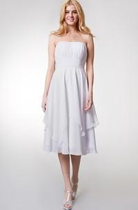 Tea-Length High-Waist Strapless Layered Bridesmaid Dress