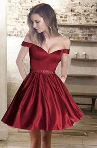 Sleeveless A-line Short Mini Off-the-shoulder Beading Pockets Ruching Satin Homecoming Dress