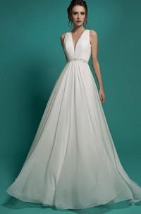 Sleeveless Rhinestone Chiffon Ruched Floor-Length A-Line Illusion Dress