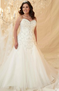 Sweetheart A-line Ball Gown Tulle plus size Wedding Dress With Beading And Corset Back