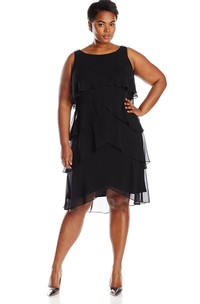 Chiffon Bateau Neckline Tiered Sleeveless Gown