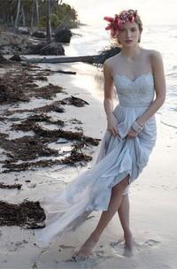High Neck Chiffon  Sleeveless Wedding Dress