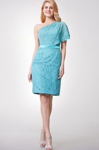 Fitted Side Draping One-Shoulder Fabulous Lace Dress
