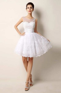 A-line Short Scoop Sleeveless Lace Dress with Appliques