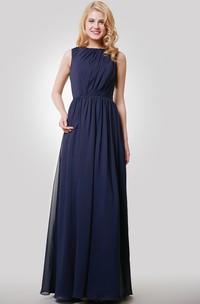 Floor-Length Keyhole Back Chiffon Sleeveless Dress