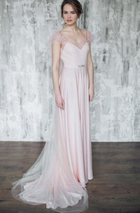 V-neck Poet-sleeve Sheath Tulle Dress With Beading And Sweep Train