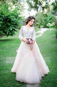 Long-Sleeve Zipper Lace Short A-Line Tulle Cap Dress