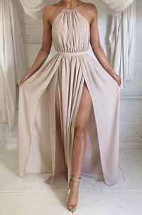 Elegant Halter Sleeveless 2018 Prom Dresses Split Floor Length Chiffon