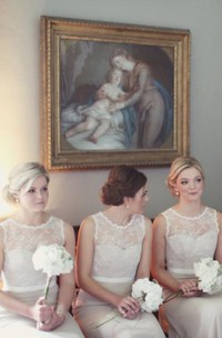 Modern Illusion A-line Lace Bridesmaid Dress 2018 Zipper Bowknot