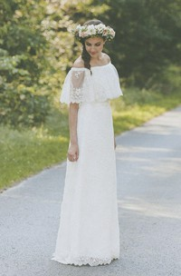 country style Off-the-shoulder Lace Floor-length Wedding Dress