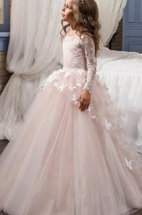 Tulle Bateau Long Sleeves Appliqued Flower Girl Dress