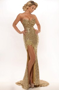 Trumpet Sweetheart Sheath Sequined party Dress With Split Front