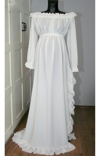 Beach Off-the-shoulder Long Sleeve Pleated Ruffled Split Front Maternity Wedding Dress