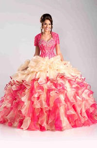 Sweetheart Cascading Ruffled Strapless Sequined Lace-Up Ball Gown