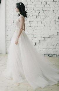 Bateau Cap-sleeve Tulle A-line Wedding Dress With Appliques And Illusion back